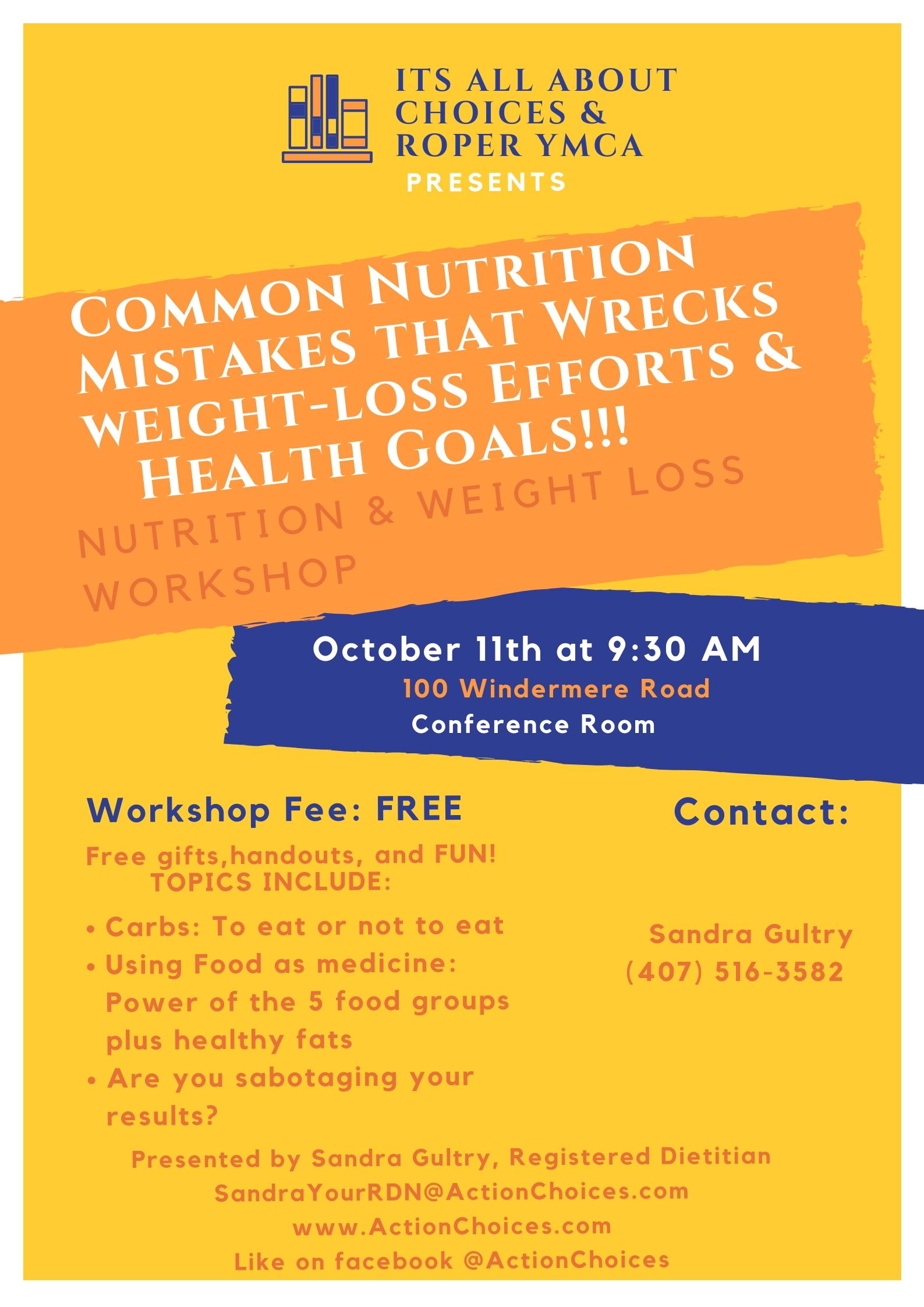 Roper YMCA Nutrition Workshop Poster